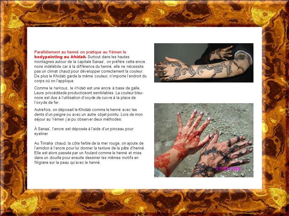 Parallèlement au henné on pratique au Yémen le bodypainting au khidab