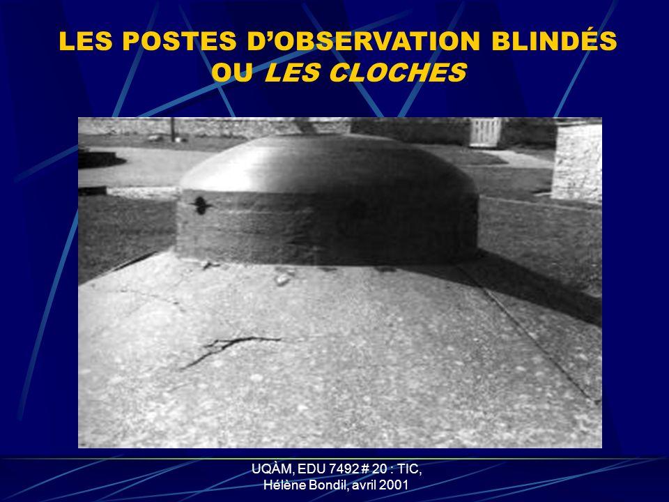 LES POSTES D'OBSERVATION BLINDÉS