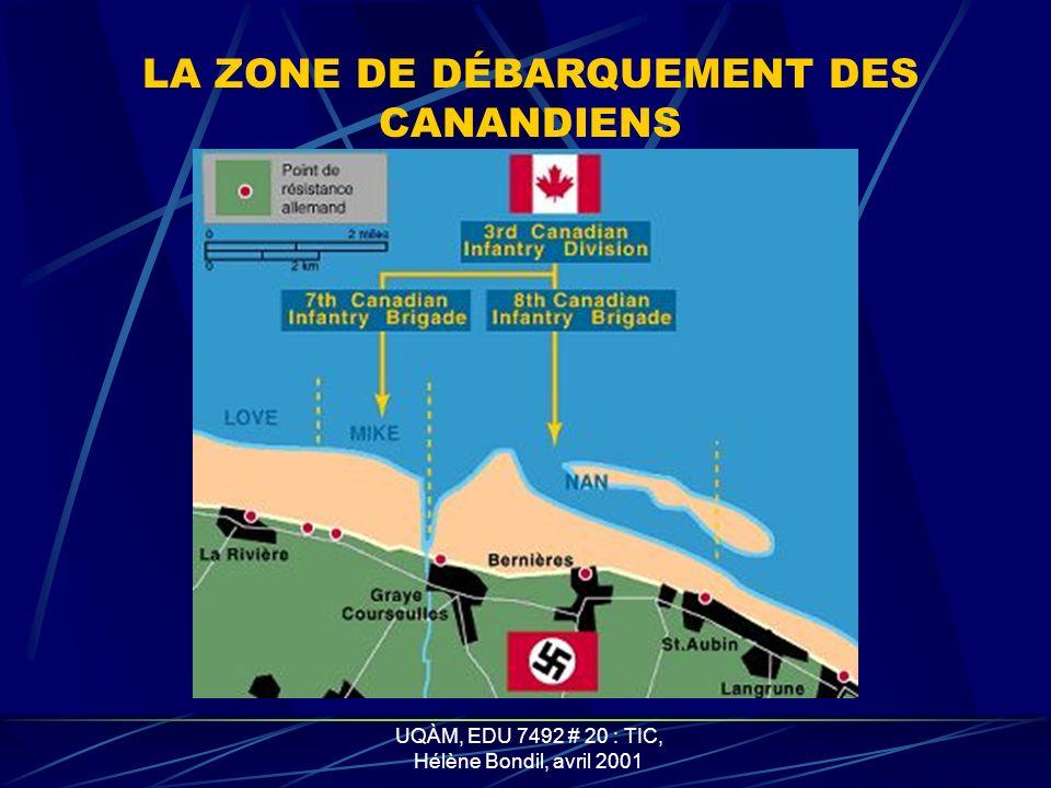 LA ZONE DE DÉBARQUEMENT DES CANANDIENS