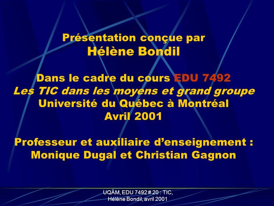 Hélène Bondil Présentation conçue par Dans le cadre du cours EDU 7492