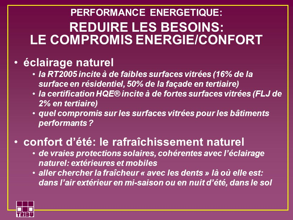 PERFORMANCE ENERGETIQUE: LE COMPROMIS ENERGIE/CONFORT