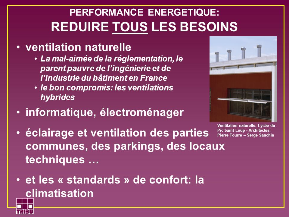 PERFORMANCE ENERGETIQUE: REDUIRE TOUS LES BESOINS