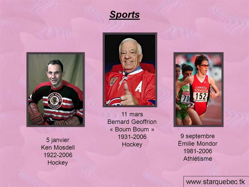 Sports 11 mars Bernard Geoffrion « Boum Boum » 1931-2006 Hockey