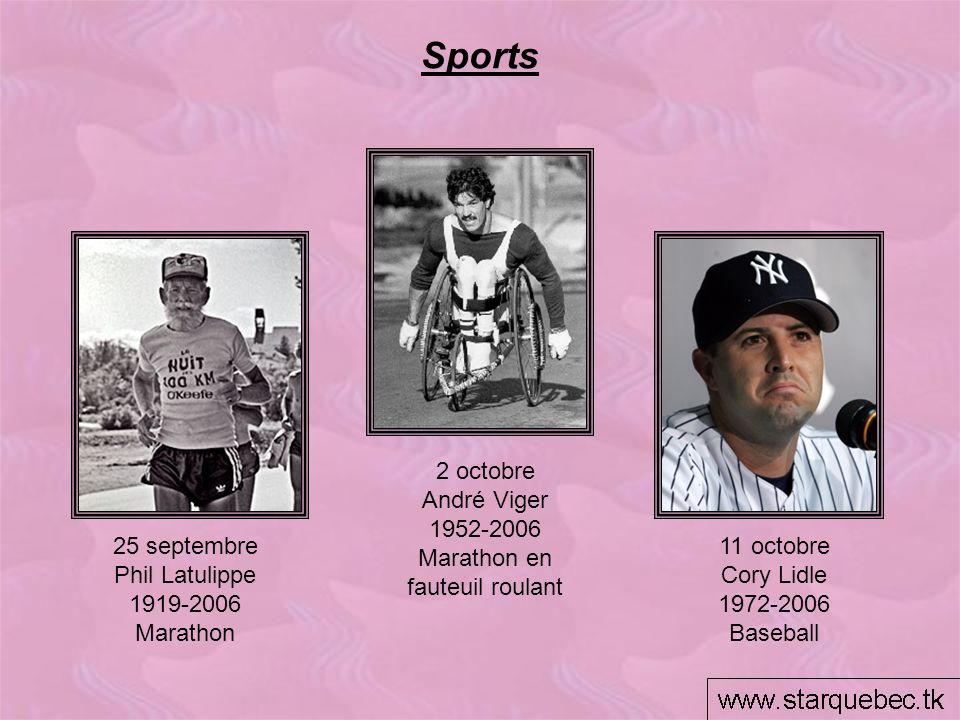 Sports 2 octobre André Viger 1952-2006 Marathon en fauteuil roulant