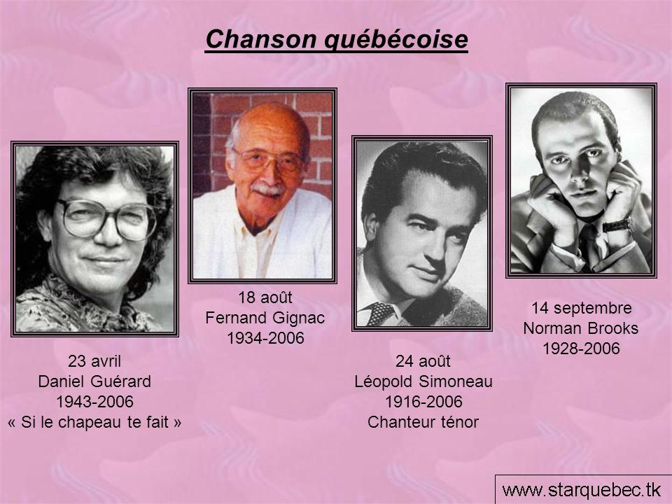 Chanson québécoise 18 août Fernand Gignac 1934-2006 14 septembre
