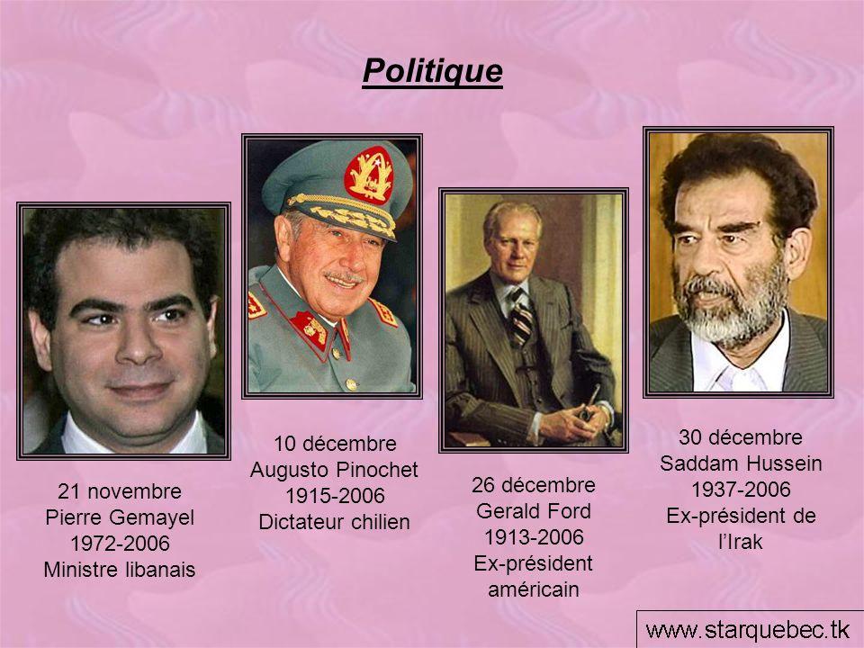Politique 30 décembre 10 décembre Saddam Hussein Augusto Pinochet