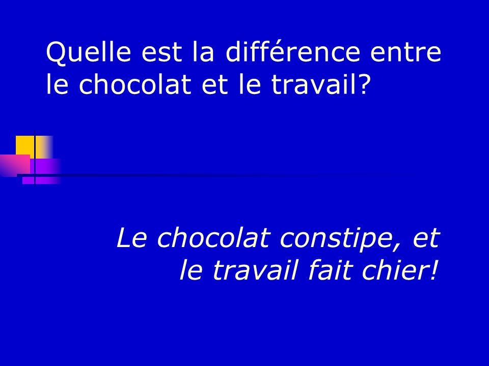 Quelle est la différence entre le chocolat et le travail