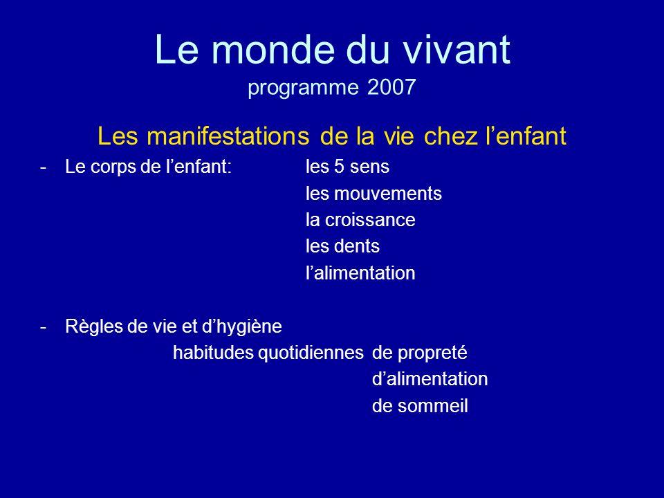 Le monde du vivant programme 2007
