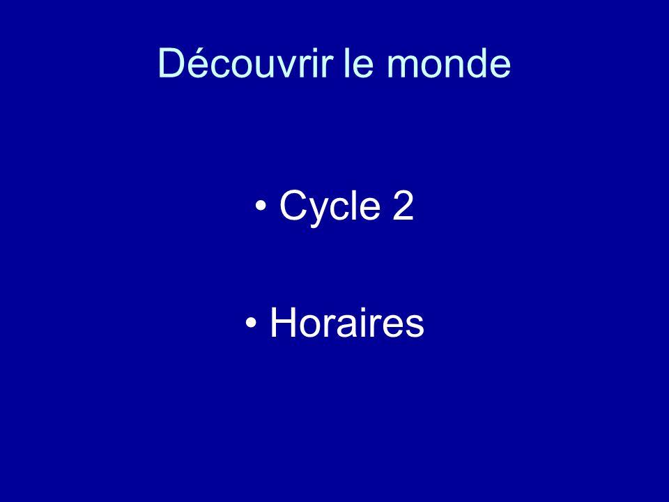 Découvrir le monde Cycle 2 Horaires