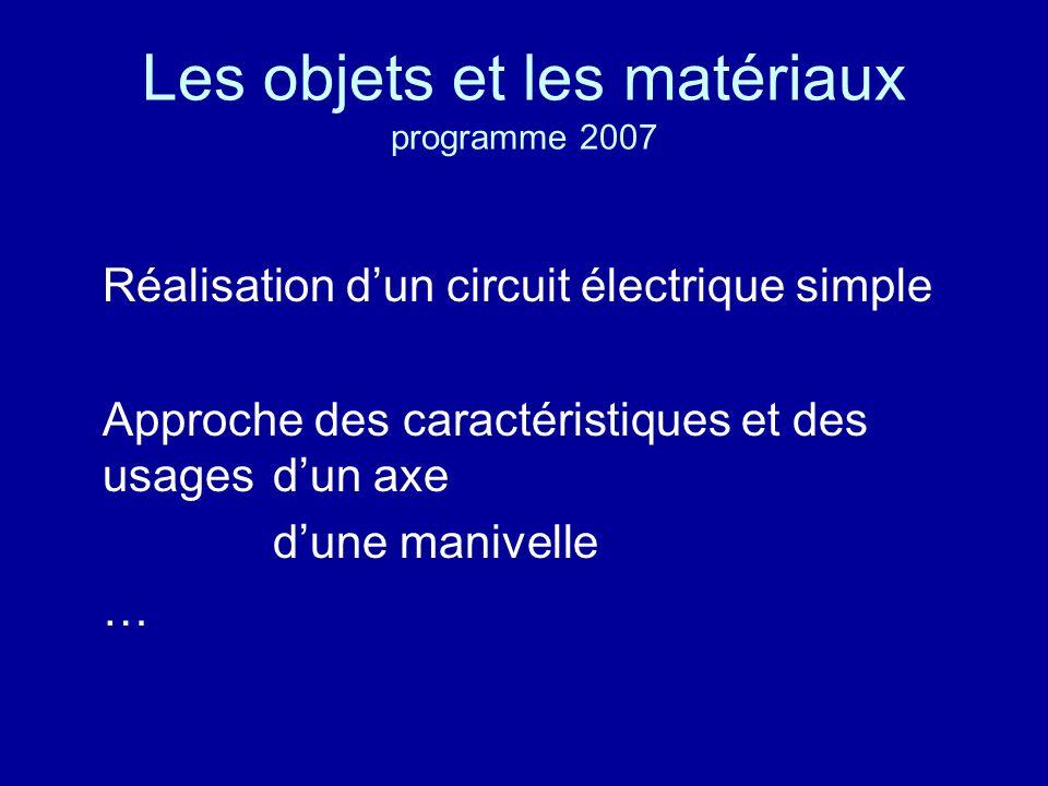 Les objets et les matériaux programme 2007
