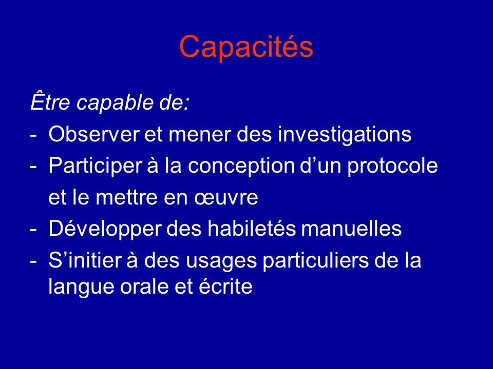 Capacités Être capable de: Observer et mener des investigations