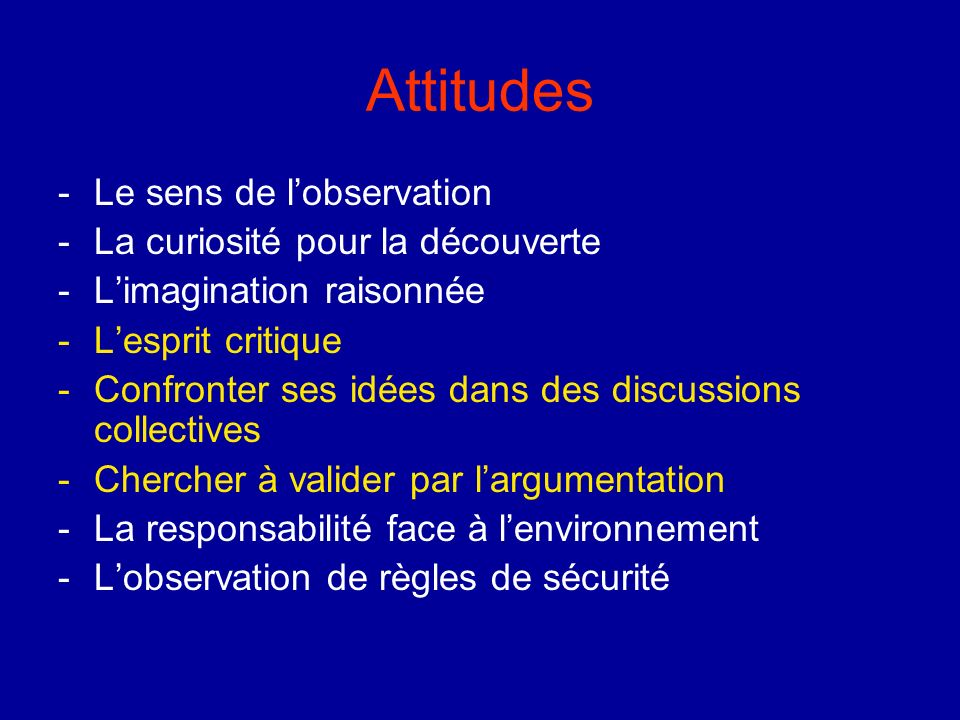 Attitudes Le sens de l'observation La curiosité pour la découverte