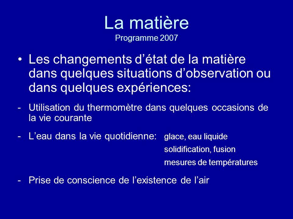 La matière Programme 2007 Les changements d'état de la matière dans quelques situations d'observation ou dans quelques expériences: