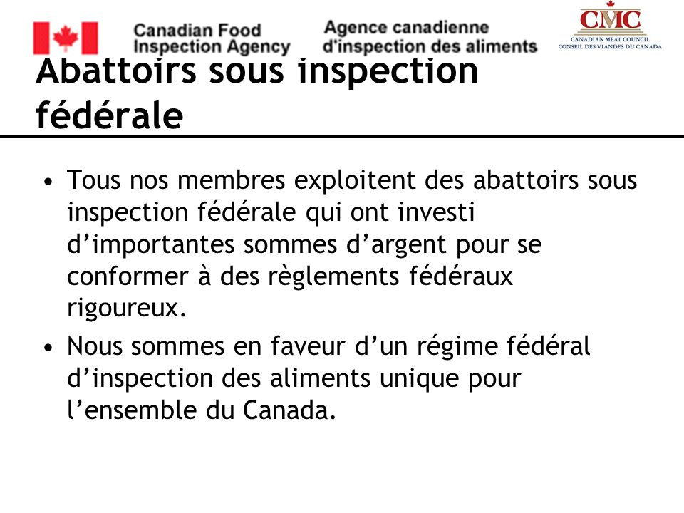 Abattoirs sous inspection fédérale