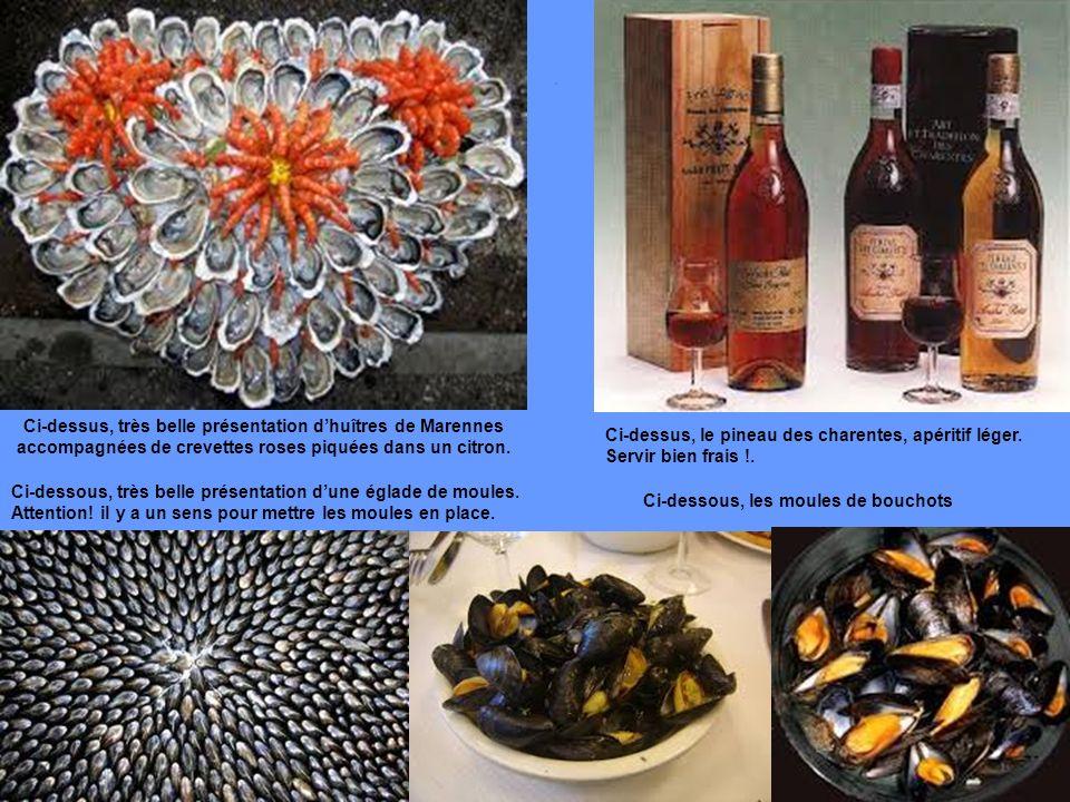 Ci-dessus, très belle présentation d'huîtres de Marennes accompagnées de crevettes roses piquées dans un citron.