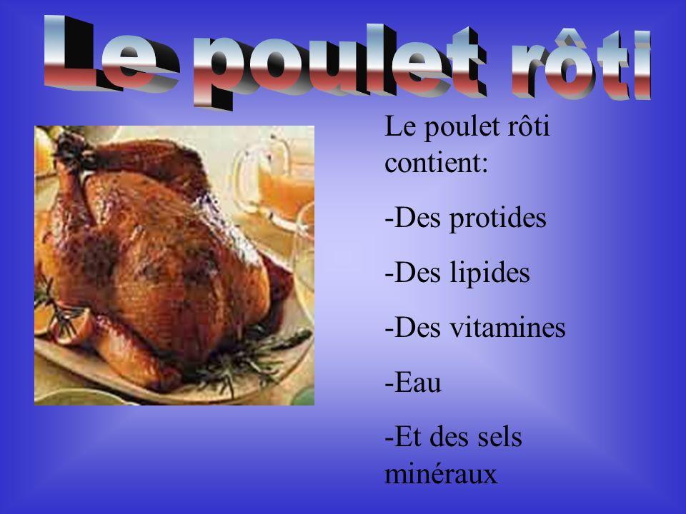 Le poulet rôti Le poulet rôti contient: -Des protides -Des lipides