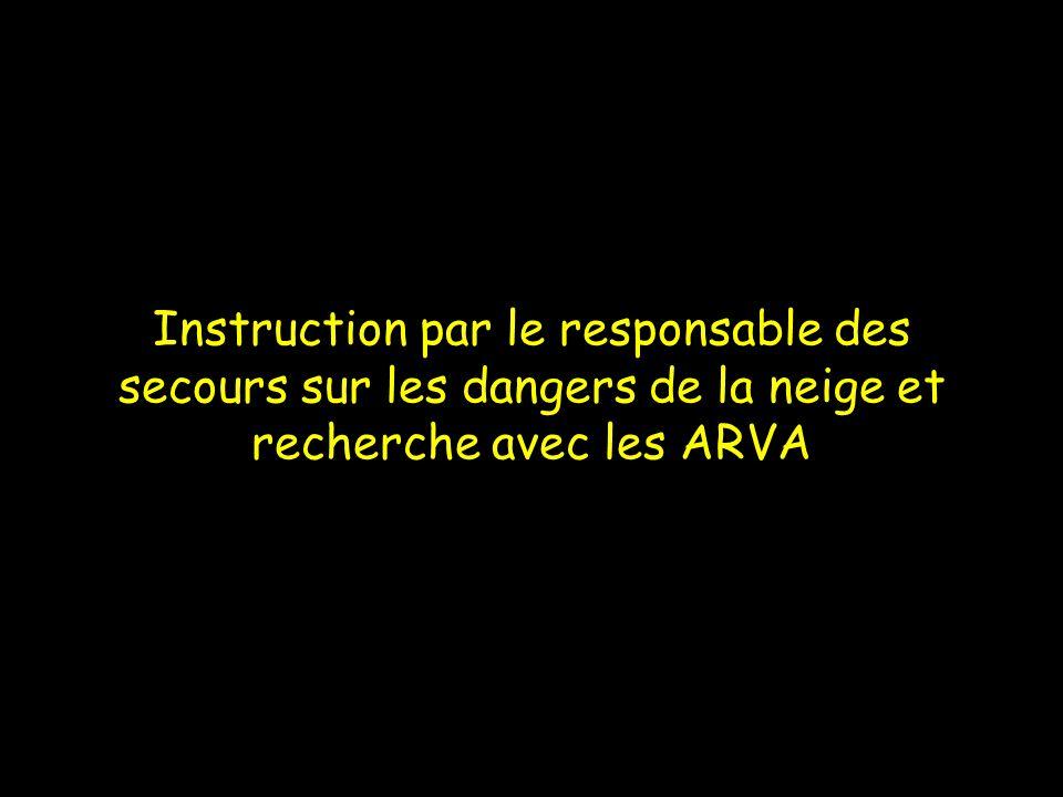 Instruction par le responsable des secours sur les dangers de la neige et recherche avec les ARVA
