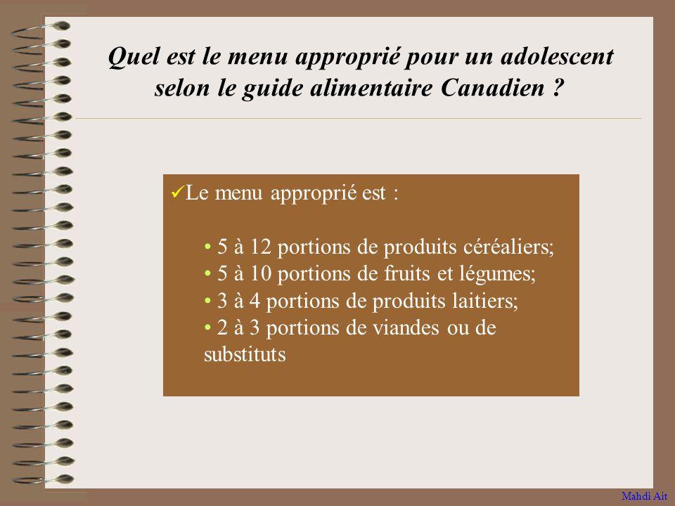 Quel est le menu approprié pour un adolescent selon le guide alimentaire Canadien
