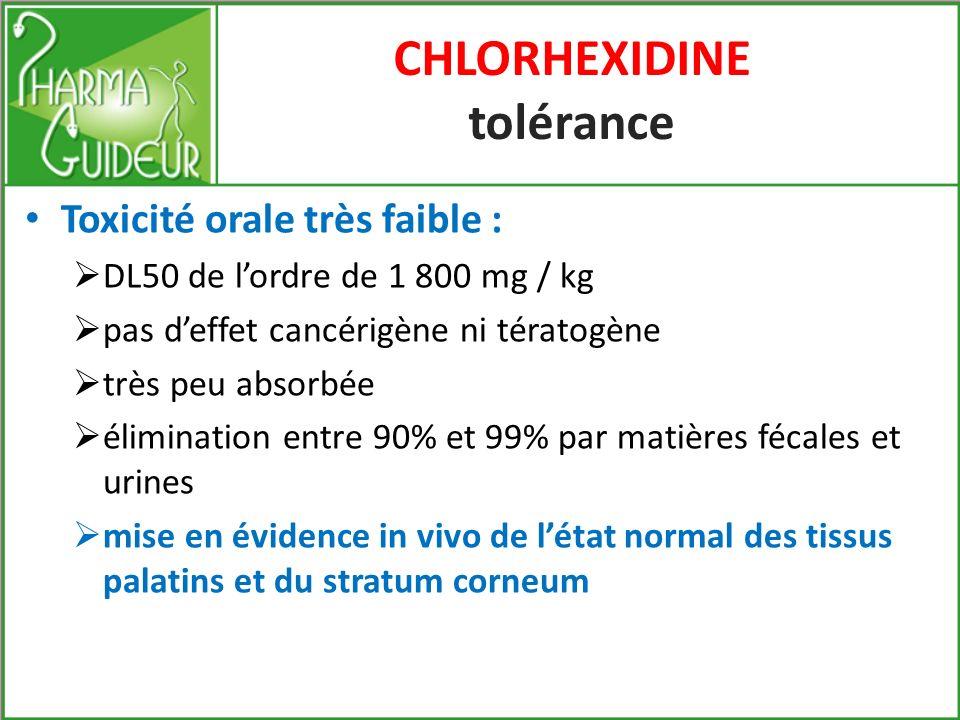 CHLORHEXIDINE tolérance