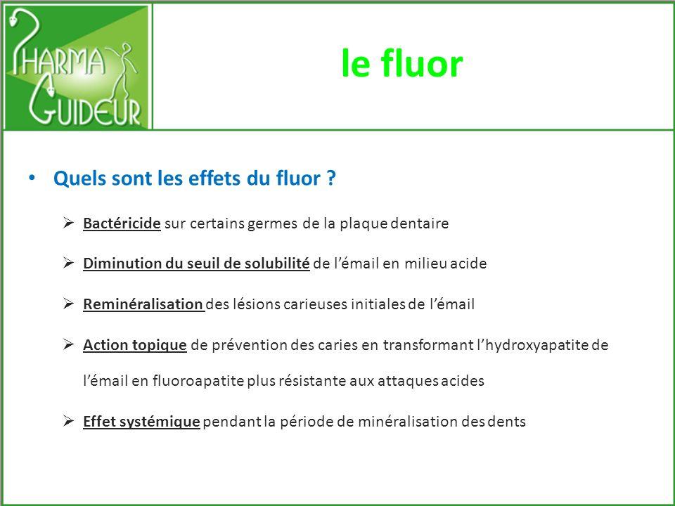 le fluor Quels sont les effets du fluor