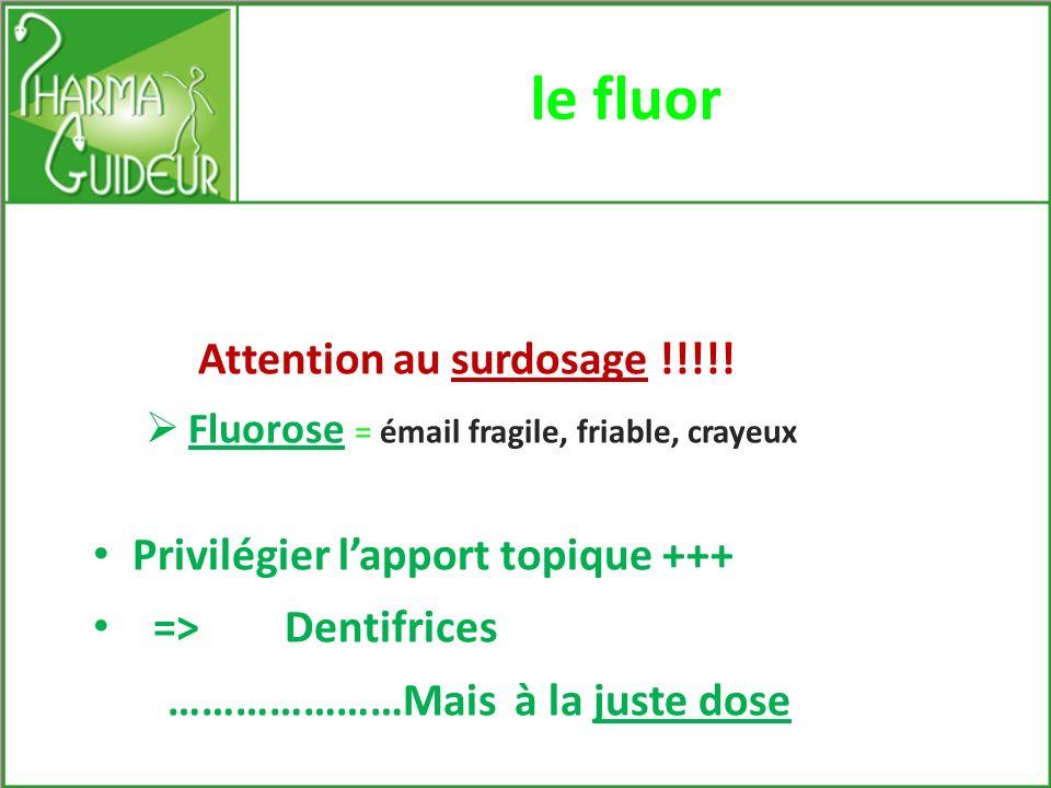 le fluor Privilégier l'apport topique +++ => Dentifrices