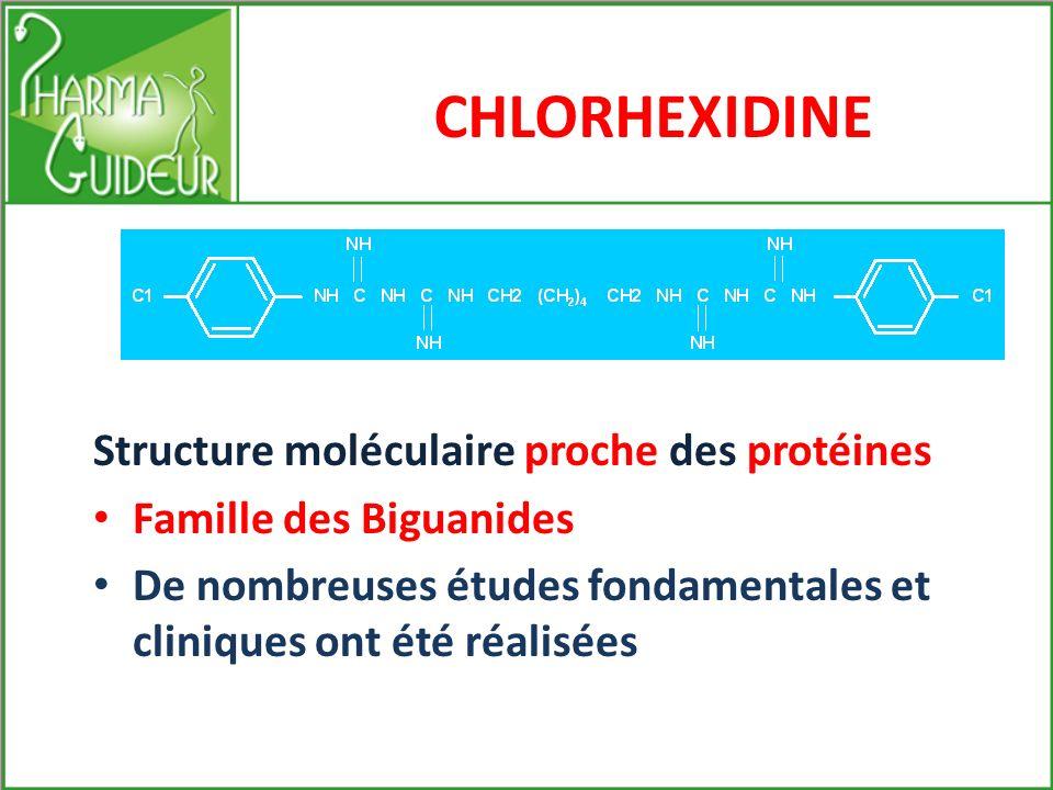 CHLORHEXIDINE Structure moléculaire proche des protéines