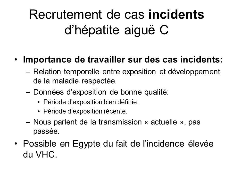 Recrutement de cas incidents d'hépatite aiguë C