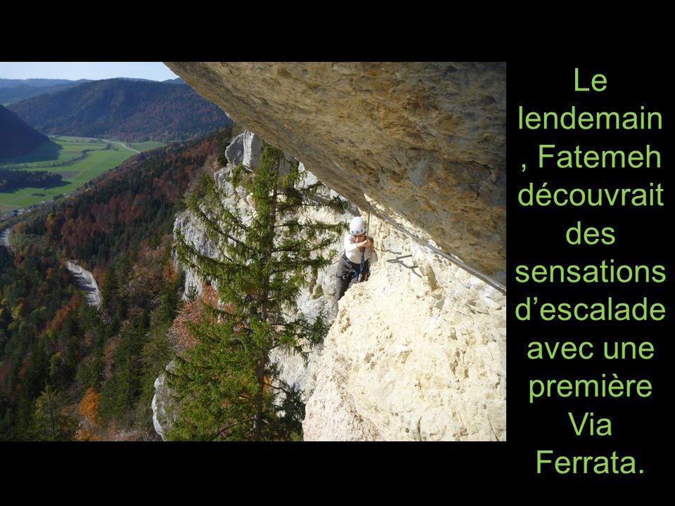 Le lendemain, Fatemeh découvrait des sensations d'escalade avec une première Via Ferrata.