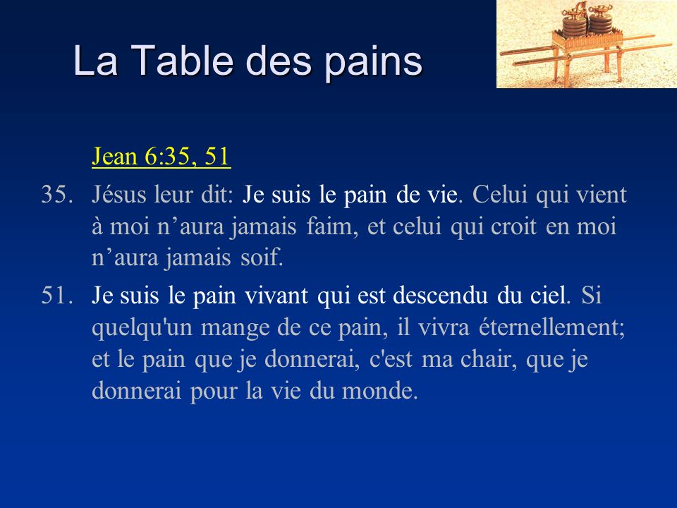 La Table des pains Jean 6:35, 51