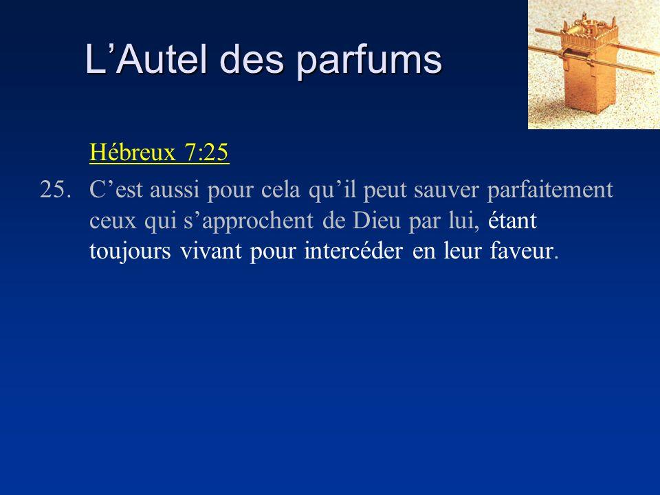 L'Autel des parfums Hébreux 7:25