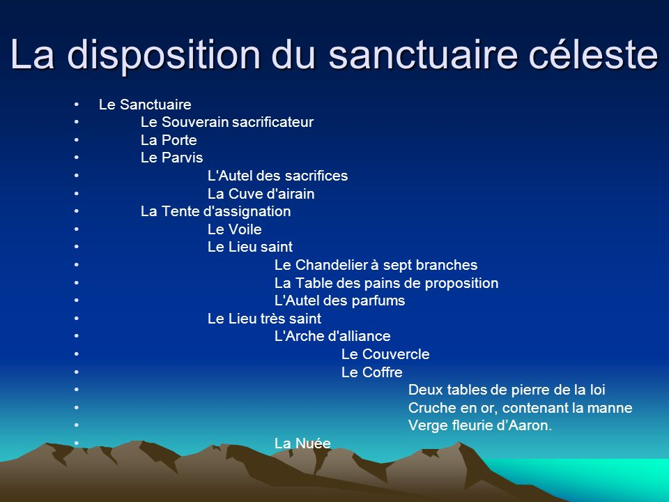 La disposition du sanctuaire céleste