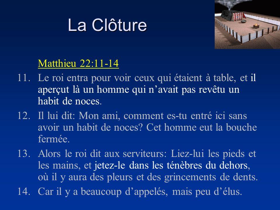 La Clôture Matthieu 22:11-14.