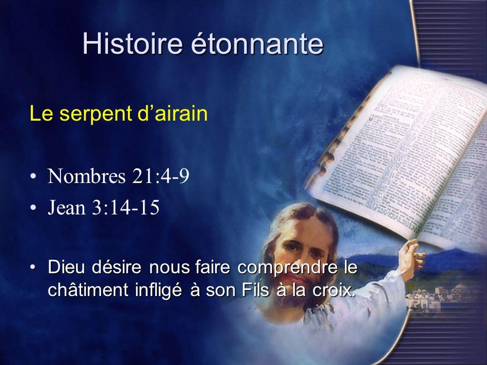 Histoire étonnante Le serpent d'airain Nombres 21:4-9 Jean 3:14-15