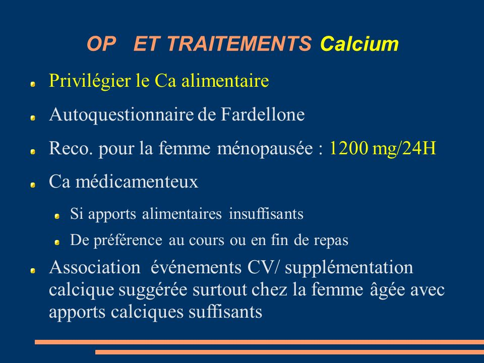 OP ET TRAITEMENTS Calcium