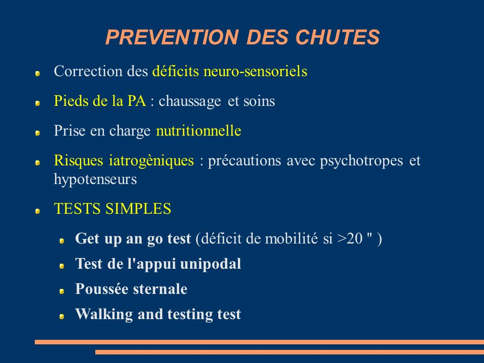PREVENTION DES CHUTES Correction des déficits neuro-sensoriels