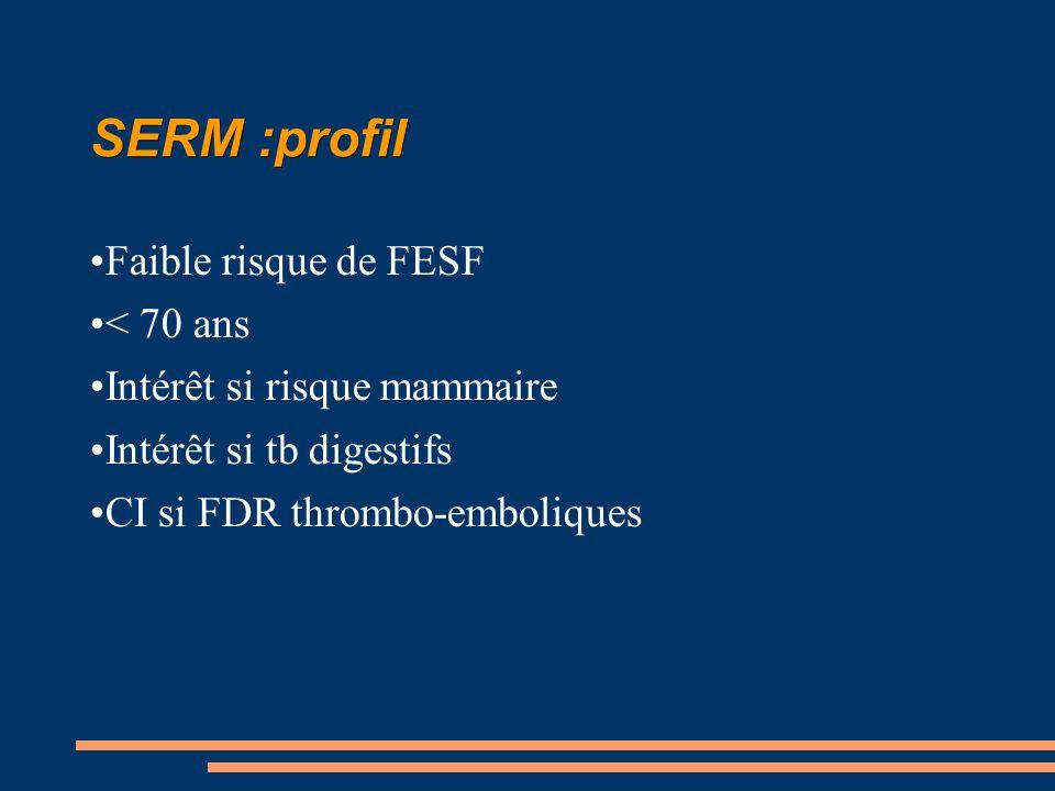 SERM :profil Faible risque de FESF < 70 ans