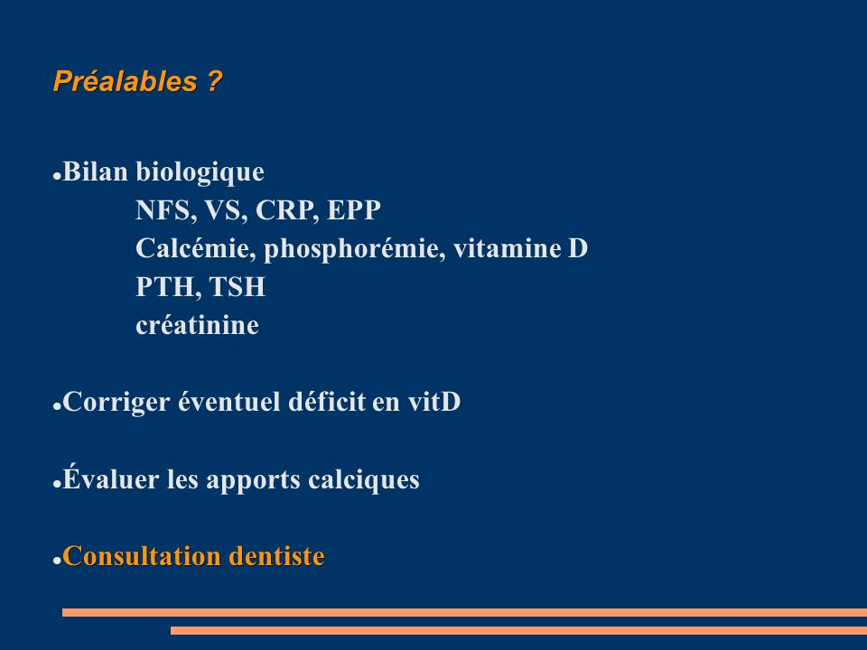 Calcémie, phosphorémie, vitamine D PTH, TSH créatinine