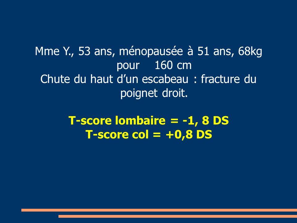 T-score lombaire = -1, 8 DS T-score col = +0,8 DS