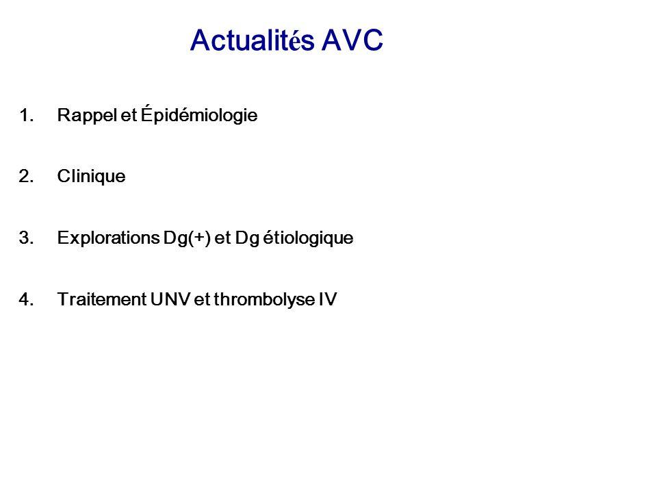 Actualités AVC Rappel et Épidémiologie Clinique