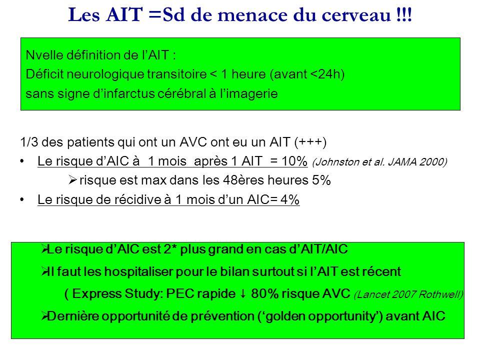 Les AIT =Sd de menace du cerveau !!!