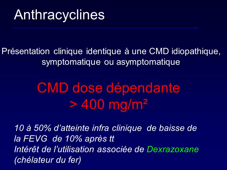 Anthracyclines CMD dose dépendante > 400 mg/m²