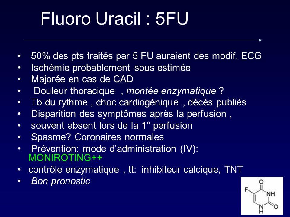 Fluoro Uracil : 5FU 50% des pts traités par 5 FU auraient des modif. ECG. Ischémie probablement sous estimée.