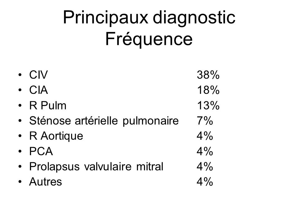 Principaux diagnostic Fréquence