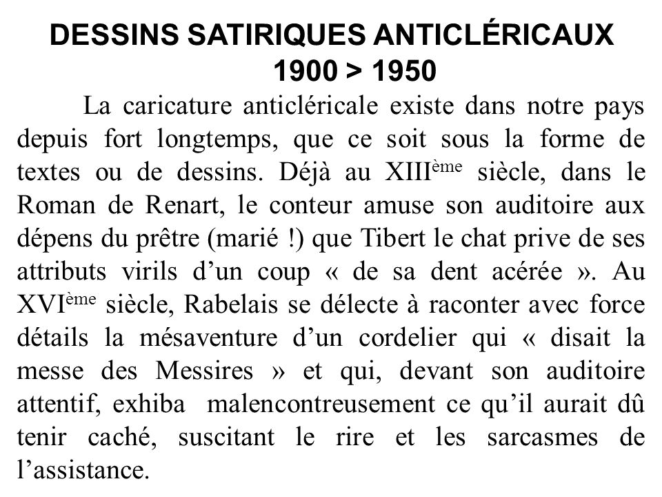 DESSINS SATIRIQUES ANTICLÉRICAUX 1900 > 1950