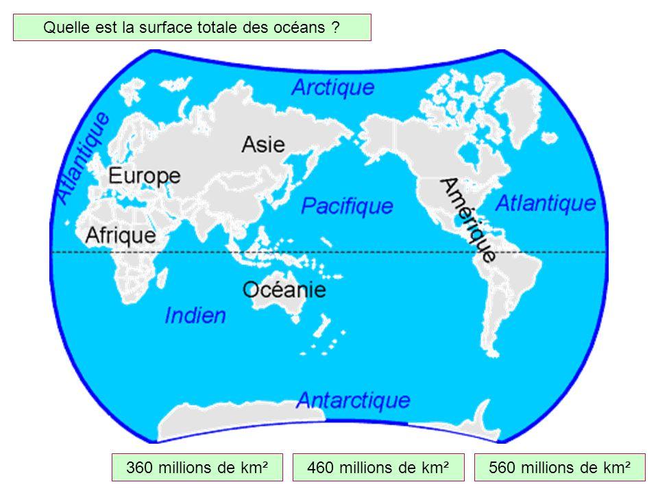 Quelle est la surface totale des océans