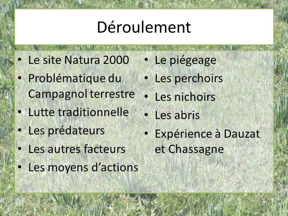 Déroulement Le site Natura 2000 Le piégeage