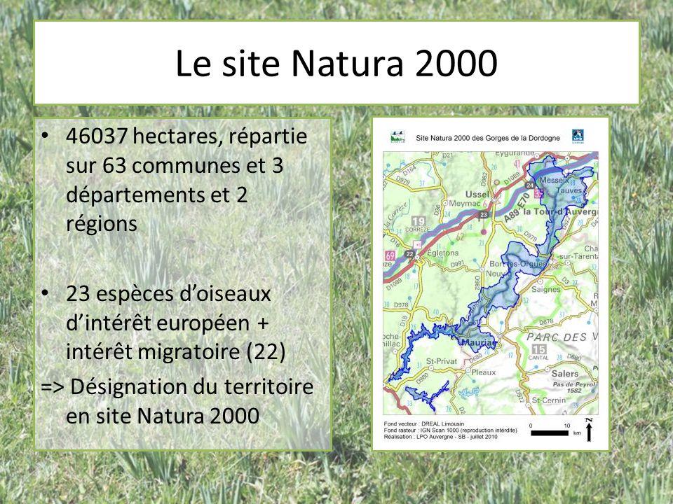 Le site Natura 2000 46037 hectares, répartie sur 63 communes et 3 départements et 2 régions.
