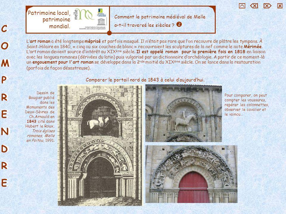 Comparer le portail nord de 1843 à celui d'aujourd'hui.