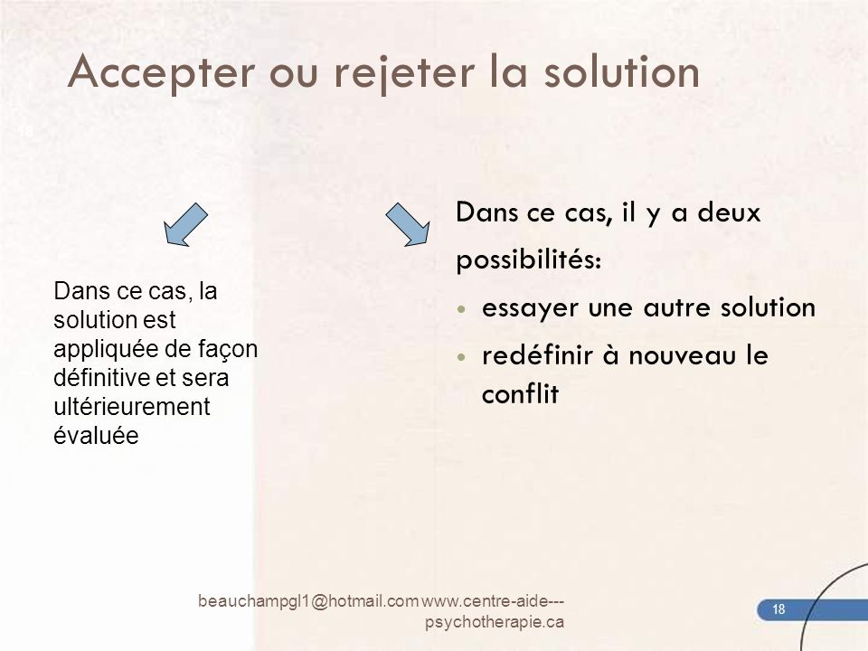 Accepter ou rejeter la solution