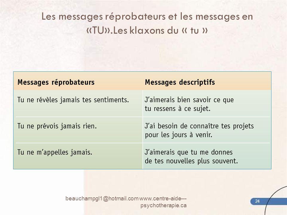 Les messages réprobateurs et les messages en «TU»